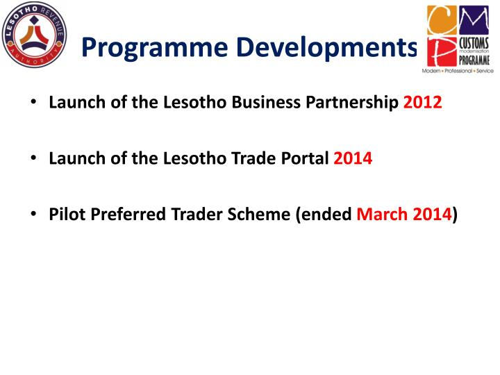 Programme Developments
