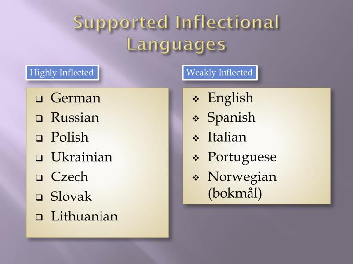 Supported Inflectional Languages
