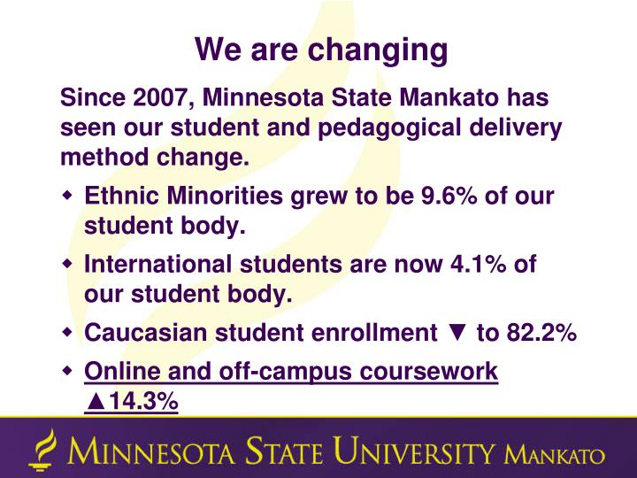We are changing