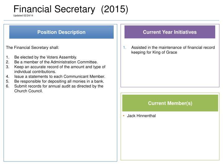 Financial Secretary  (2015)
