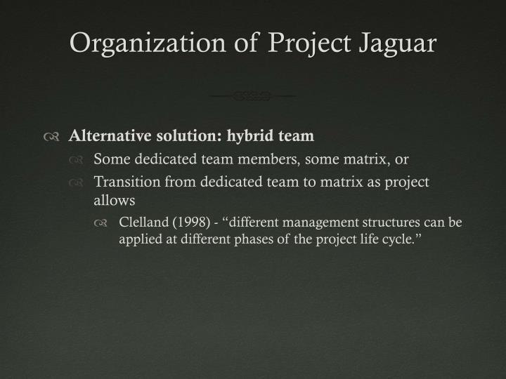 Organization Of Project Jaguar