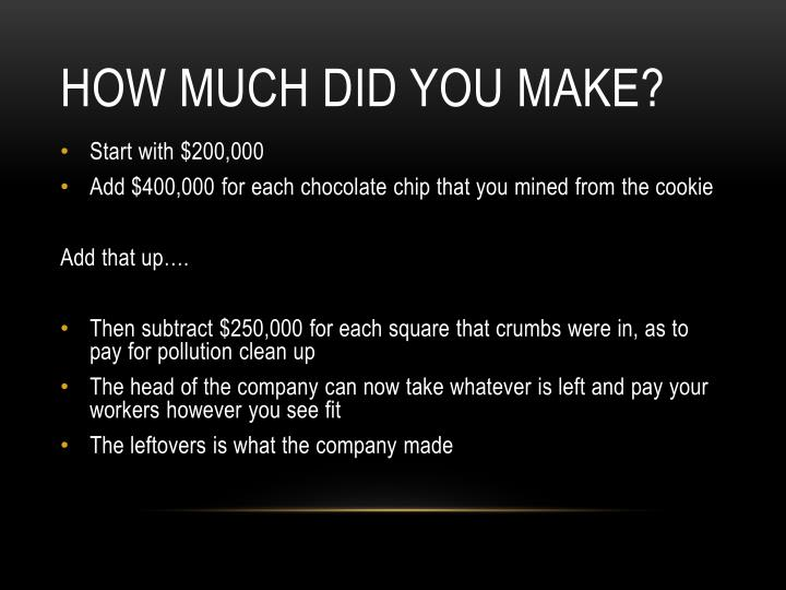 How much did you make?