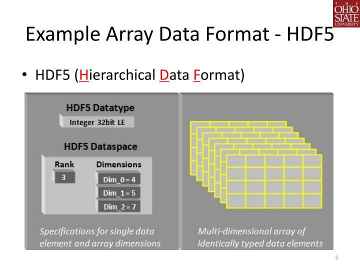 Example Array Data Format - HDF5