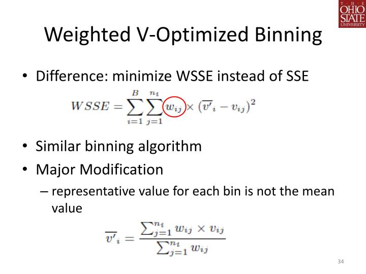 Weighted V-Optimized Binning