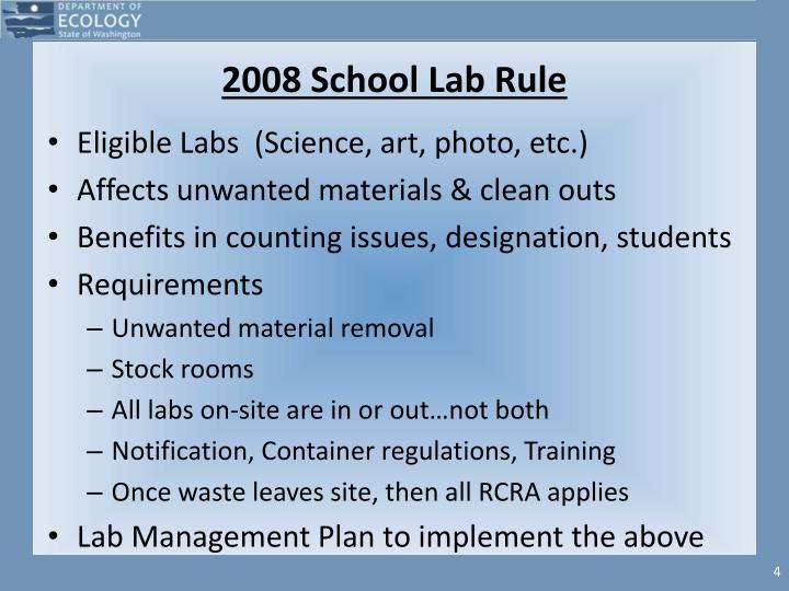 2008 School Lab Rule