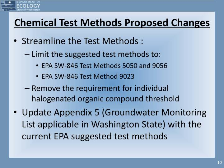 Chemical Test Methods Proposed Changes