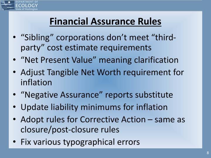 Financial Assurance Rules