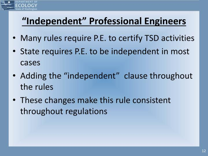 """""""Independent"""" Professional Engineers"""
