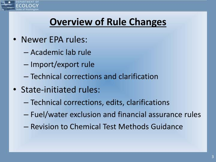 Overview of rule changes