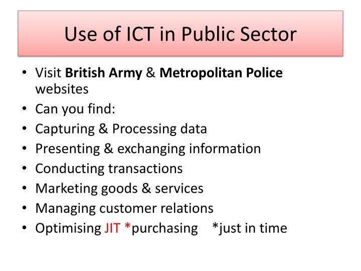 Use of ICT in Public Sector
