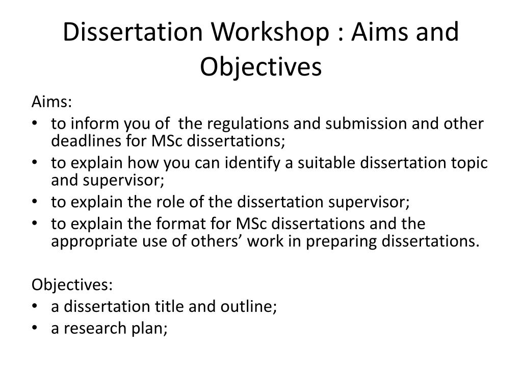 Aims and Objectives for Master's Dissertations