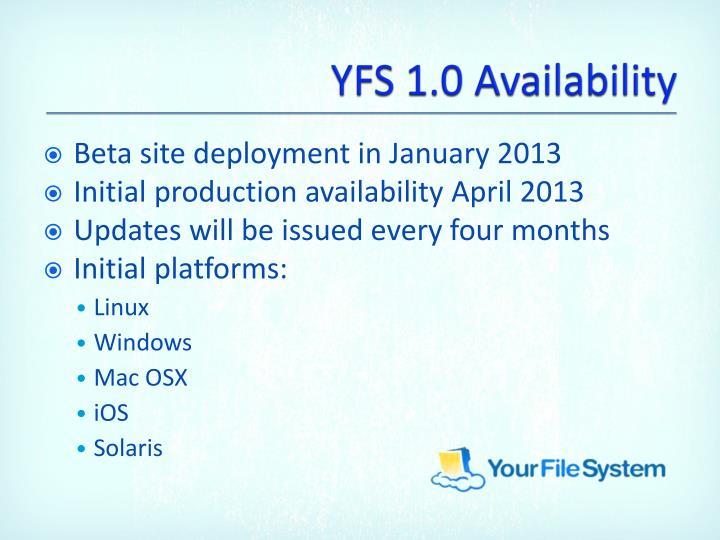 YFS 1.0 Availability