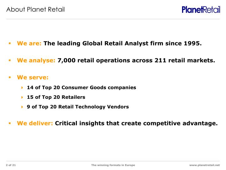 About Planet Retail