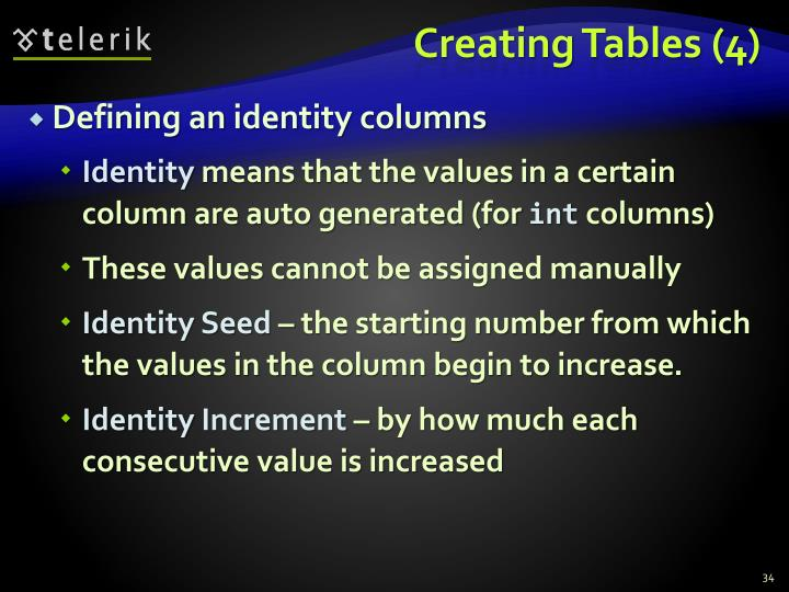 Creating Tables (4)