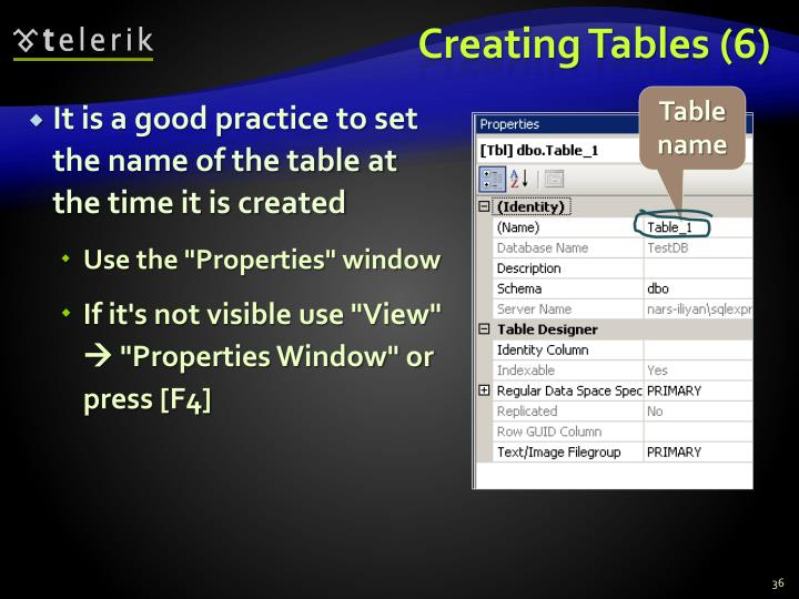 Creating Tables (6)
