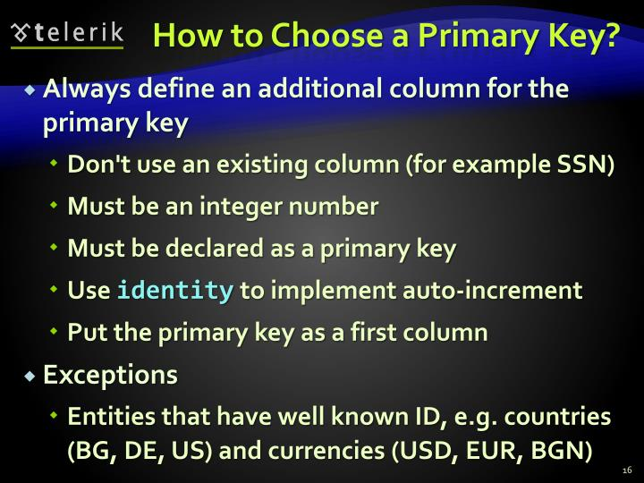 How to Choose a Primary Key