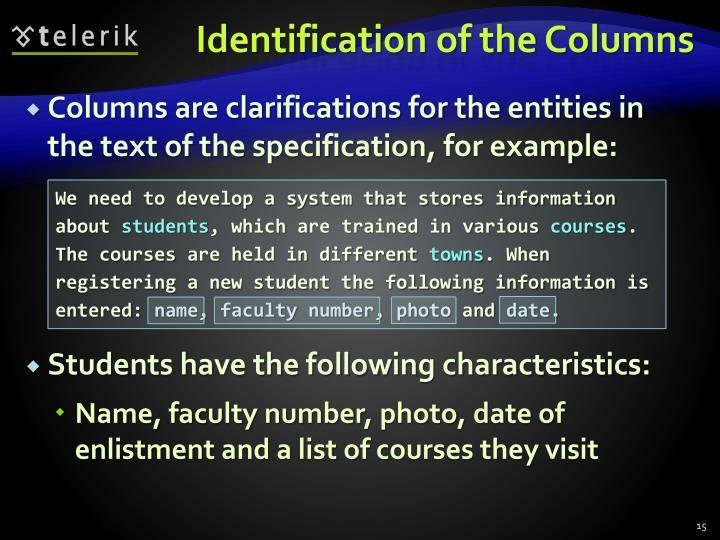 Identification of the Columns