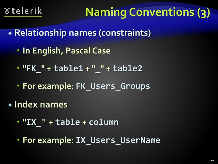 Naming Conventions (3)