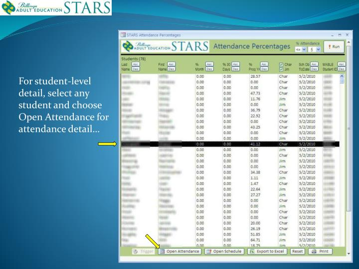 For student-level detail, select any student and choose