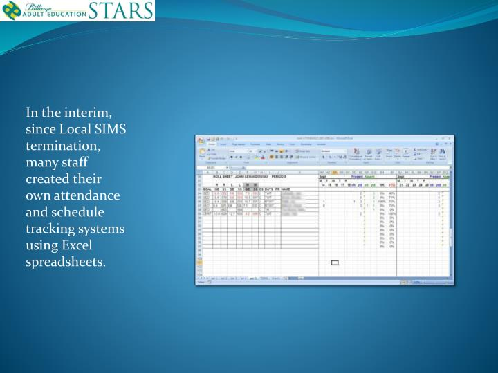 In the interim, since Local SIMS termination, many staff created their own attendance and schedule