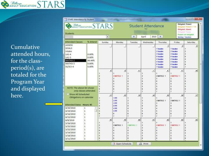 Cumulative attended hours, for the class-period(s), are totaled for the Program Year and displayed here.