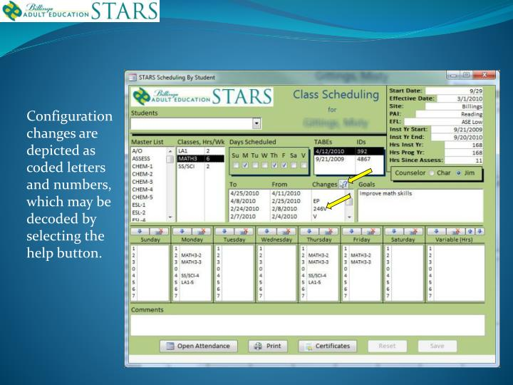 Configuration changes are depicted as coded letters and numbers, which may be decoded by selecting the help button.