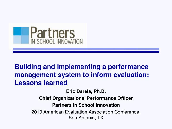 PPT - Building and implementing a performance management