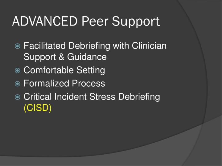 ADVANCED Peer Support