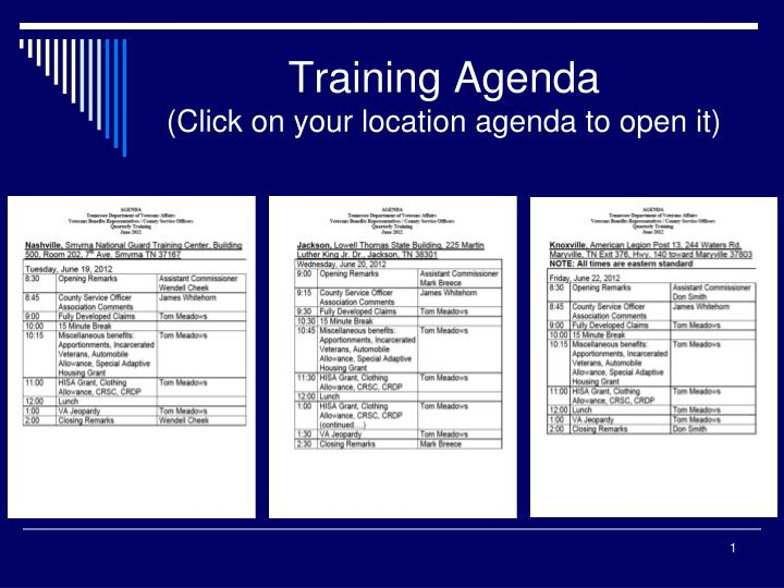training agenda click on your location agenda to open it n.