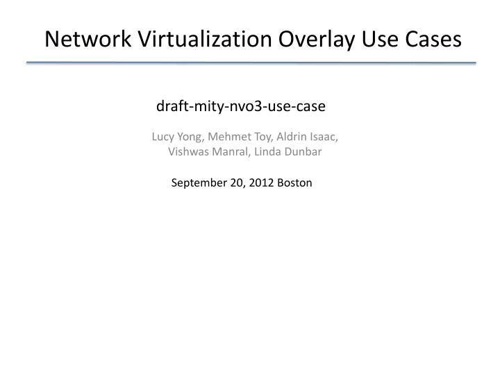 network virtualization overlay use cases n.