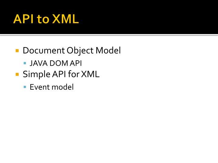 API to XML
