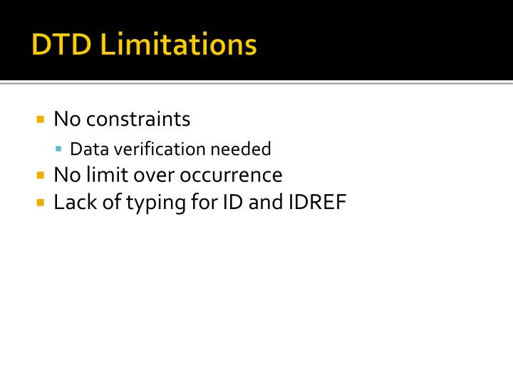 DTD Limitations