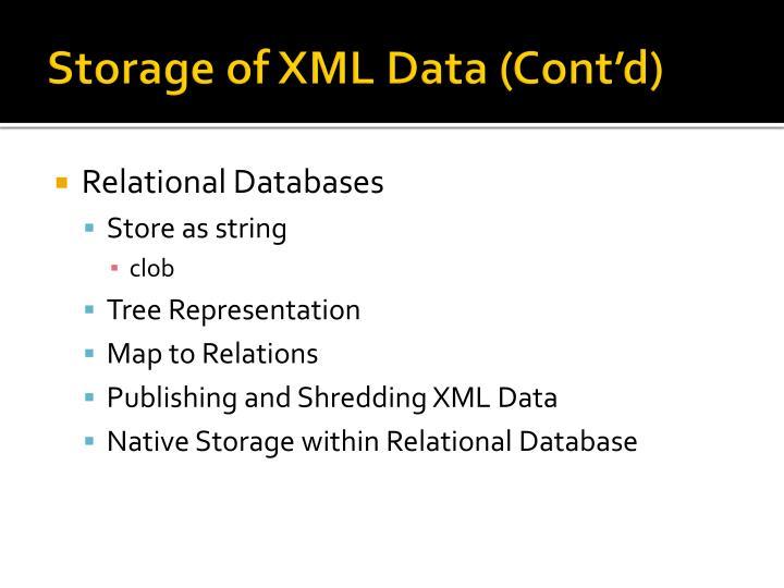 Storage of XML