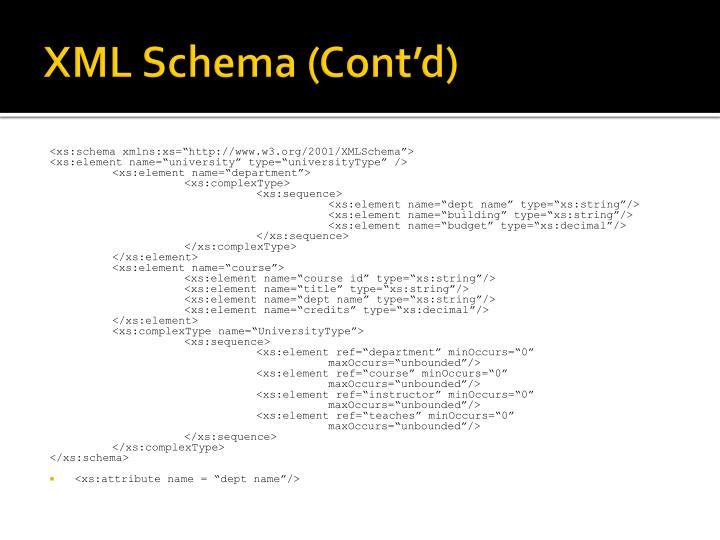 XML Schema (Cont'd)