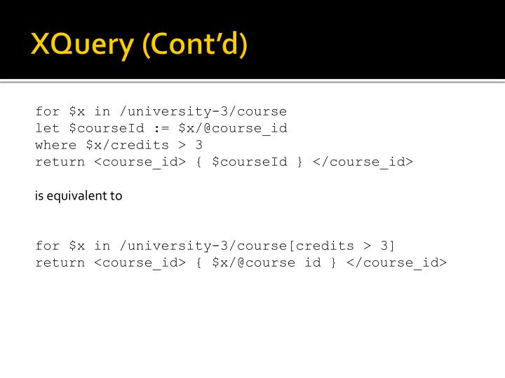 XQuery (Cont'd)