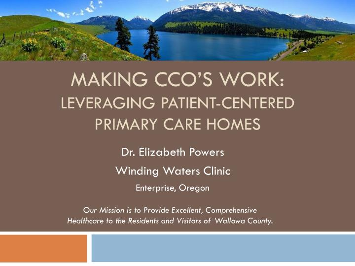 Making cco s work leveraging patient centered primary care homes