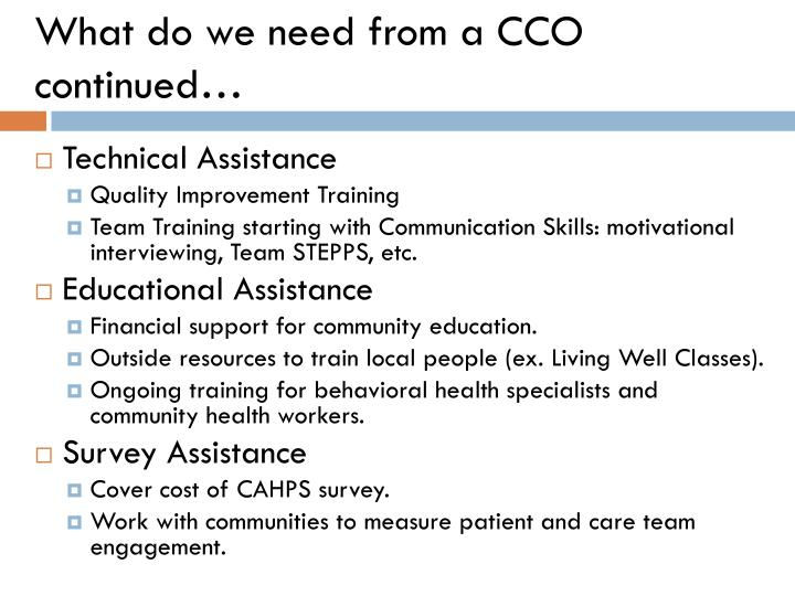 What do we need from a CCO continued…