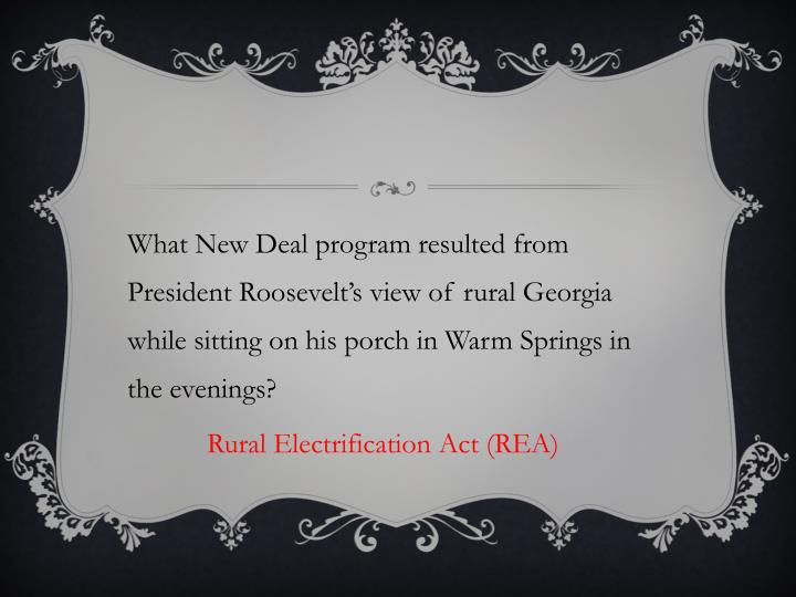 What New Deal program resulted from President Roosevelt's view of rural Georgia while sitting on his porch in Warm Springs in the evenings?