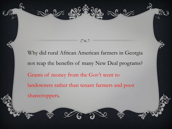 Why did rural African American farmers in Georgia not reap the benefits of many New Deal programs