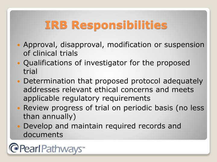 Approval, disapproval, modification or suspension of clinical trials