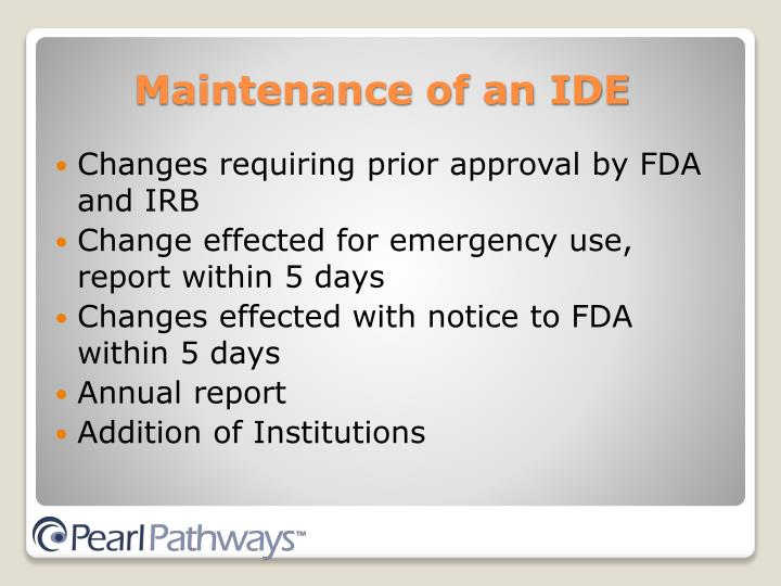 Changes requiring prior approval by FDA and IRB