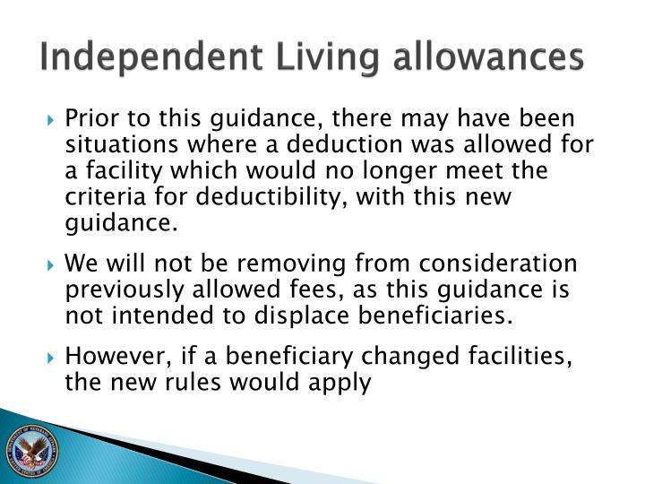 Independent Living allowances