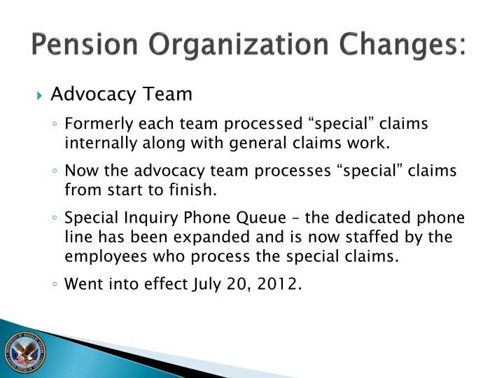 Pension Organization Changes: