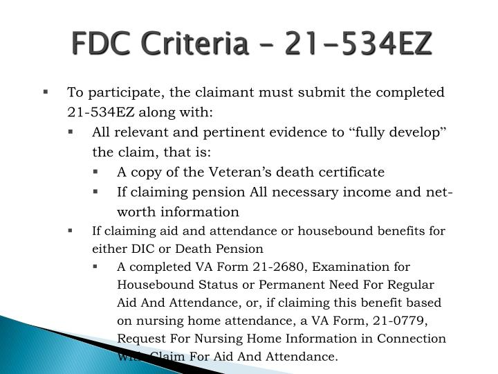 FDC Criteria – 21-534EZ
