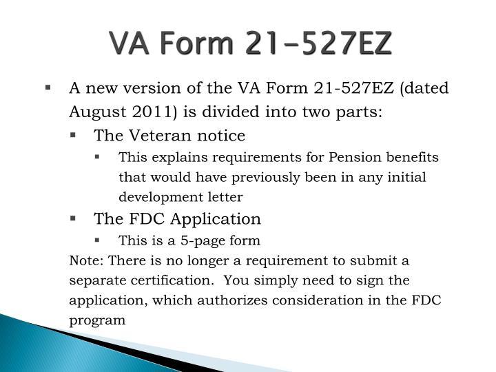 VA Form 21-527EZ