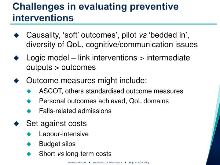 Challenges in evaluating preventive interventions