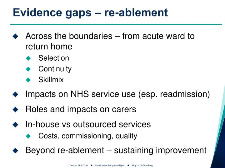 Evidence gaps – re-
