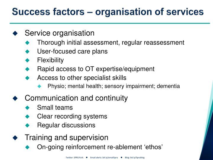 Success factors – organisation of services