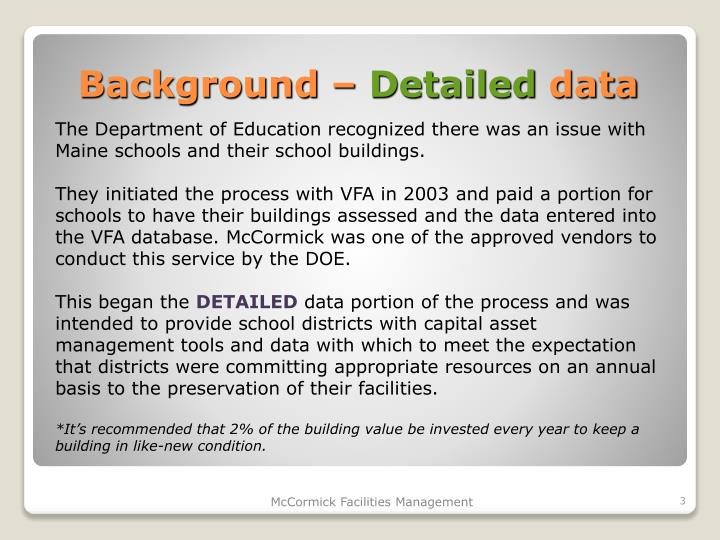 Background detailed data