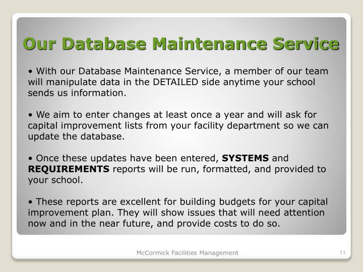 Our Database Maintenance Service